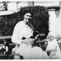 Mrs. Flo Corwin, Harriet Corwin and a dog named Flossie
