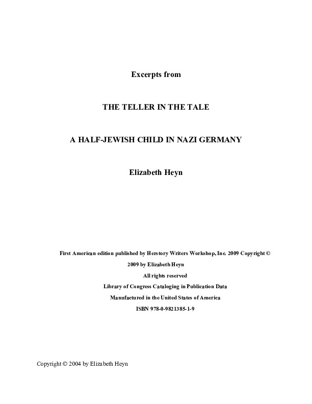 """Excerpts from """"The Teller in the Tale: A Half-Jewish Child in Nazi Germany"""" by Elizabeth Heyn"""