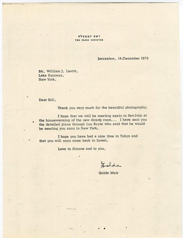 Letter from Golda Meir to William Levitt