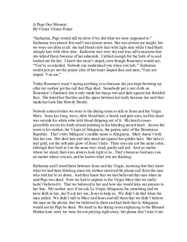 """De repente--A Page One Moment"" by Vivian Viloria Fisher<br />"