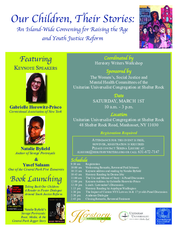 """""""Our Children, Their Stories: An Island-Wide Convening for Youth Justice Reform"""" Flyer"""