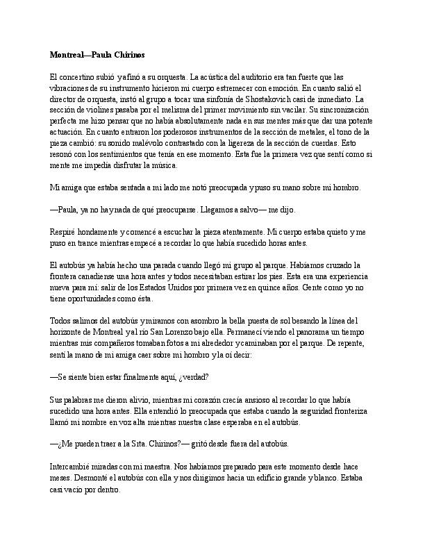 """""""Montreal"""" by Paula Chirinos in Spanish"""