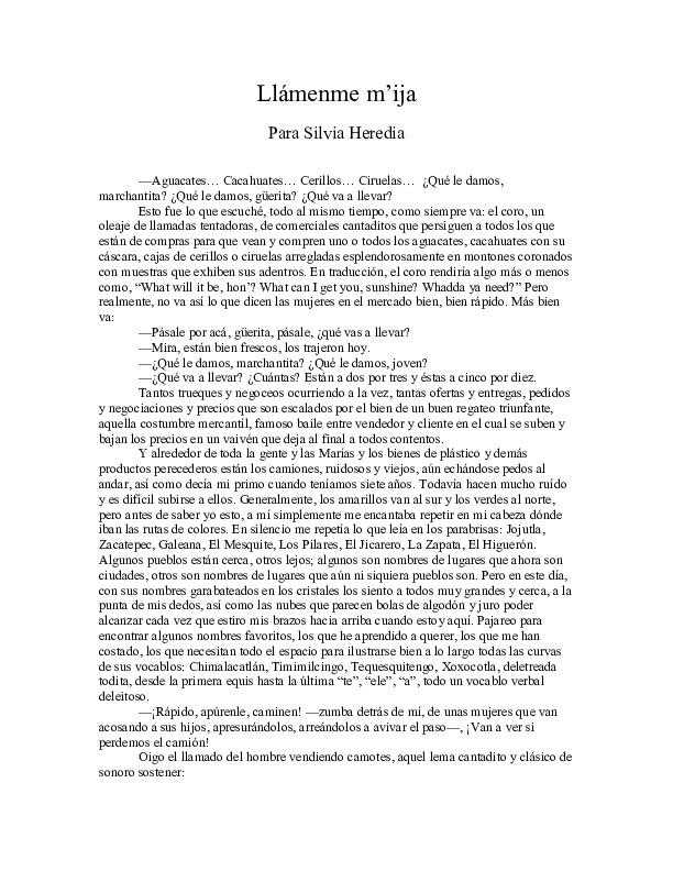 """Llámenme m'ija"" by Silvia Heredia"