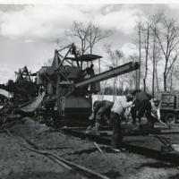 Workers on a section of the Long Island Railroad