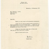 Letter from Golda Meir to William Levitt